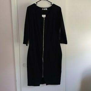Black bodycon zipper dress